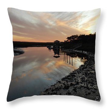 Inlet Sunset Throw Pillow by Gordon Mooneyhan