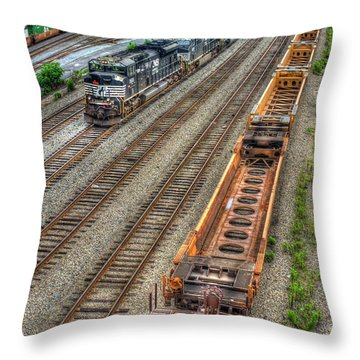 Throw Pillow featuring the photograph Inman Intermodal Yard Atlanta Norfolk Southern Railway Locomotive 2665 Art by Reid Callaway