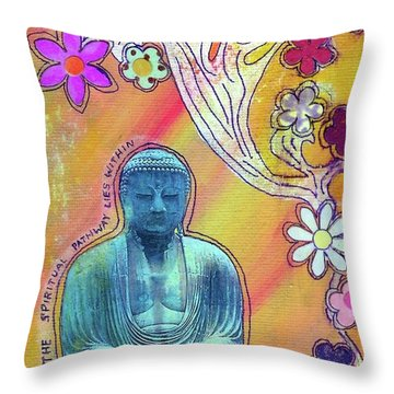 Throw Pillow featuring the mixed media Inner Bliss by Desiree Paquette