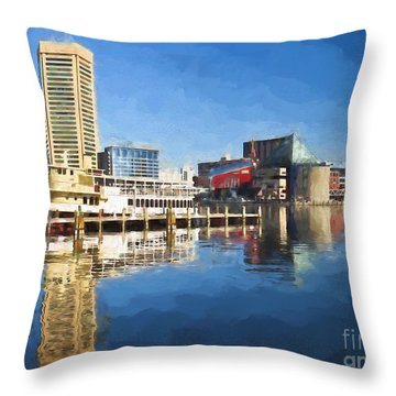 Inner Harbor Reflections  Throw Pillow