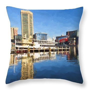 Inner Harbor Reflections  Throw Pillow