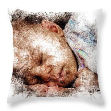Throw Pillow featuring the digital art Innocence by Charlie Roman
