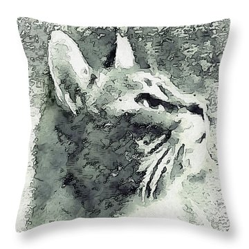 Inquisitive Cat Gray Scale Throw Pillow