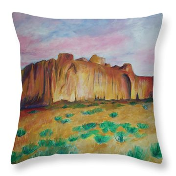 Throw Pillow featuring the painting Inscription Rock  by Eric  Schiabor