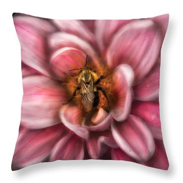 Insect - Bee - Center Of The Universe  Throw Pillow by Mike Savad