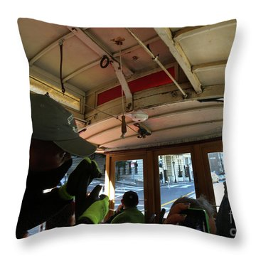 Inside A Cable Car Throw Pillow by Steven Spak