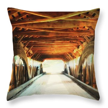 Inside A Covered Bridge Throw Pillow