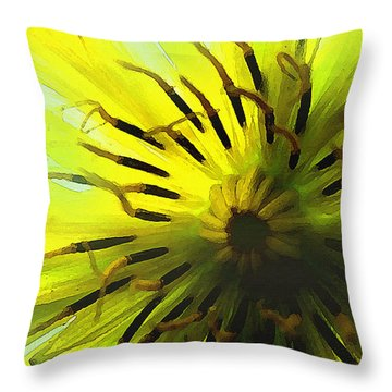 Inside A Yellow Goatsbeard  Throw Pillow