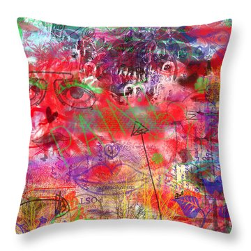 Inside Her Head Throw Pillow by Claire Bull