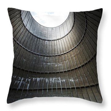 Throw Pillow featuring the photograph Inside Industrial Cooling Tower Stands A Mysterous Little House by Dirk Ercken