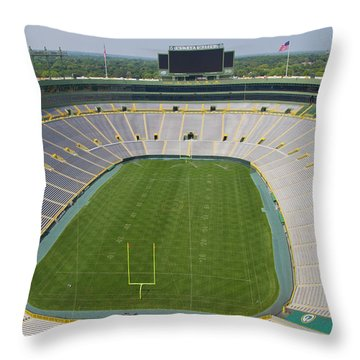 Throw Pillow featuring the photograph Inside Lambeau Field by Joel Witmeyer