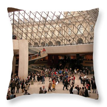 Throw Pillow featuring the photograph Inside Louvre Museum Pyramid by Mark Czerniec