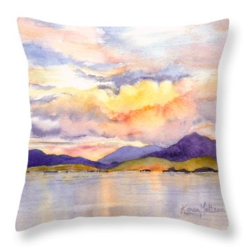 Inside Passage Sunset - Alaska Throw Pillow by Karen Mattson