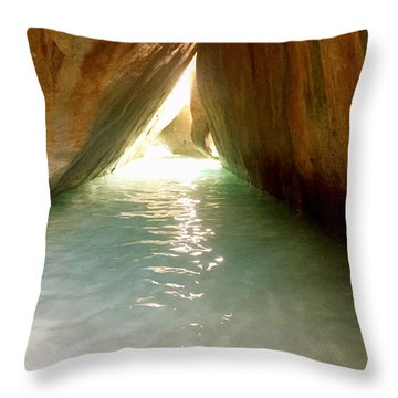 Inside The Baths On Virgin Gorda Throw Pillow