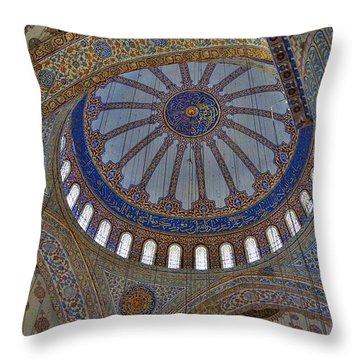 Inside The Blue Mosque Throw Pillow