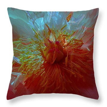 Inside The Heart Of A Peonie Throw Pillow by Sabine Stetson