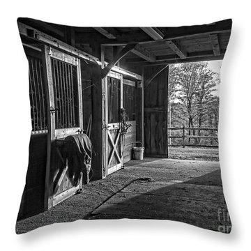 Throw Pillow featuring the photograph Inside The Horse Barn Black And White by Edward Fielding
