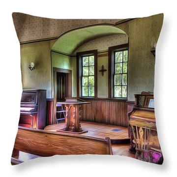 Inside The Oysterville Church  Throw Pillow
