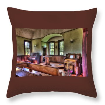 Inside The Oysterville Church  Throw Pillow