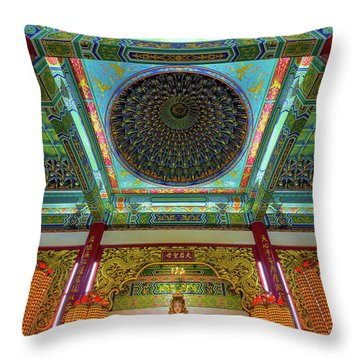 Inside Thean Hou Temple Throw Pillow by David Gn