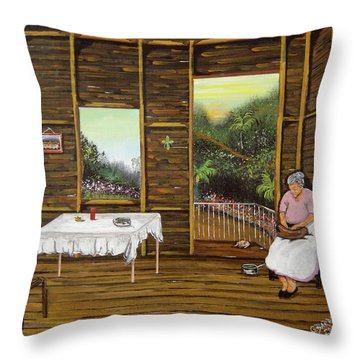 Inside Wooden Home Throw Pillow by Gloria E Barreto-Rodriguez