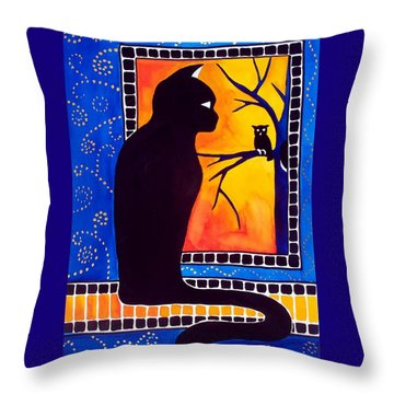 Insomnia - Cat And Owl Art By Dora Hathazi Mendes Throw Pillow