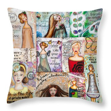 Throw Pillow featuring the mixed media Inspirational Mix by Stanka Vukelic