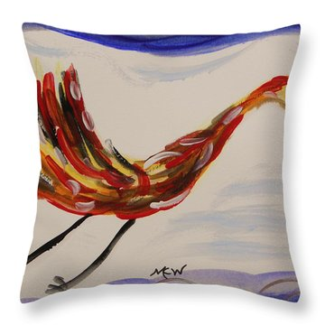 Inspired By Calder's Only Only Bird Throw Pillow by Mary Carol Williams