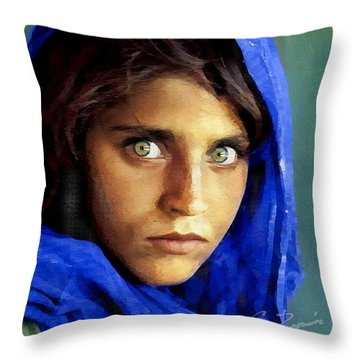 Throw Pillow featuring the digital art Inspired By Steve Mccurry's Afghan Girl by Charlie Roman