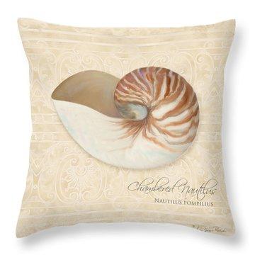 Inspired Coast Iv - Chambered Nautilus, Nautilus Pompilius Throw Pillow