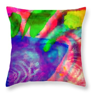 Inspired Flower Pot Throw Pillow by Fania Simon