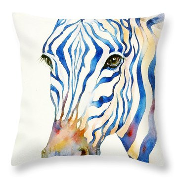 Intense Blue Zebra Throw Pillow