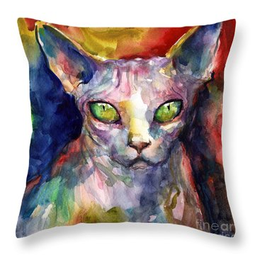 intense watercolor Sphinx cat painting Throw Pillow