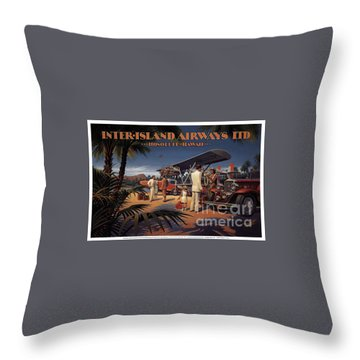 Inter Island Airways-honolulu Hawaii Throw Pillow
