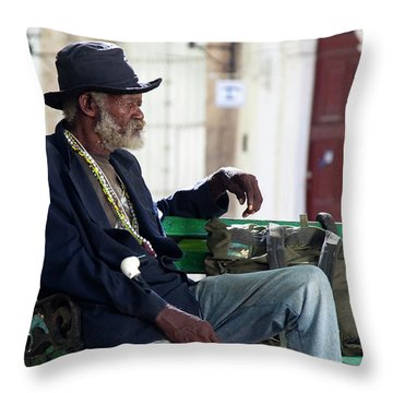 Throw Pillow featuring the photograph Interesting Cuban Gentleman In A Park On Obrapia by Charles Harden