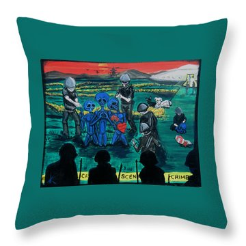 Throw Pillow featuring the painting Intergalactic Misunderstanding by Similar Alien