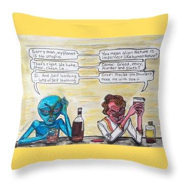 Intergalactic Reality Check Throw Pillow