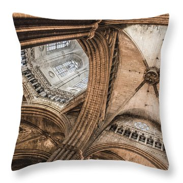 Interior Barcelona Cathedral Throw Pillow by Chas Hauxby