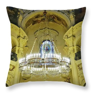 Interior Evening View Of St. Nicholas Church In Prague Throw Pillow