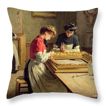 Interior Of A Frame Gilding Workshop Throw Pillow by Louis Emile Adan