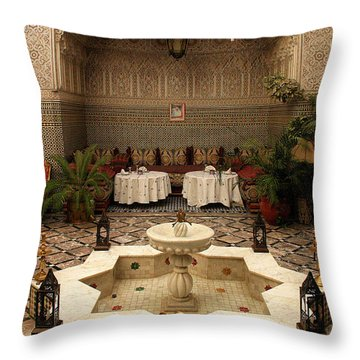 Interior Of A Traditional Riad In Fez Throw Pillow