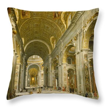 Interior Of St. Peter's - Rome Throw Pillow by Giovanni Paolo Panini