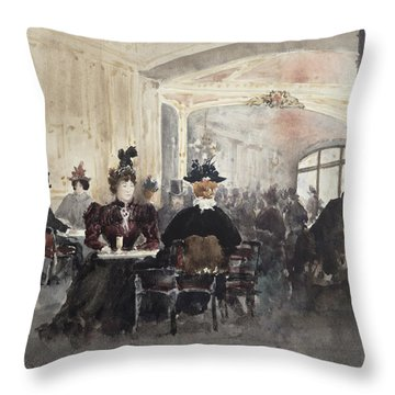 Interior Of The Concert Rouge Throw Pillow by Henri Laurent Mouren