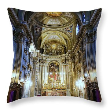 Interior View Of Santi Vincenzo E Anastasio A Fontana Di Trevi In Rome Italy Throw Pillow