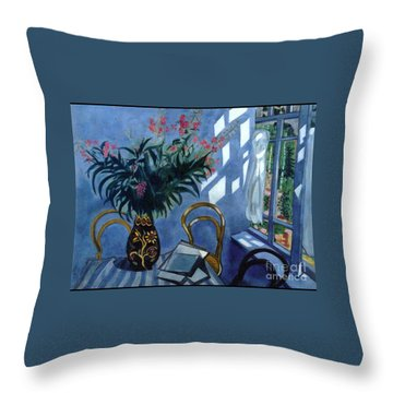 Interior With Flowers Throw Pillow