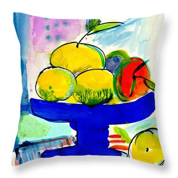 Interior With Lemons And Orange Throw Pillow