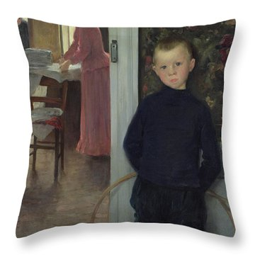 Interior With Women And A Child Throw Pillow by Paul Mathey