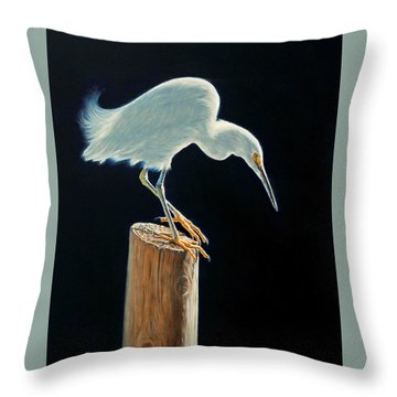 Interlude - Snowy Egret Throw Pillow