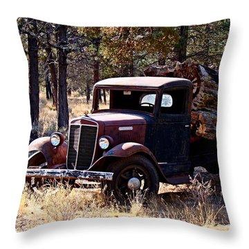 International Log Truck Throw Pillow by Nick Kloepping