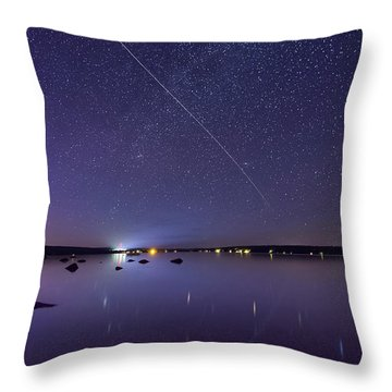 Throw Pillow featuring the photograph International Space Station Over Branch Lake by Kirkodd Photography Of New England